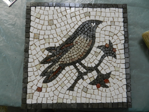 The mosaic part complete - before grouting.