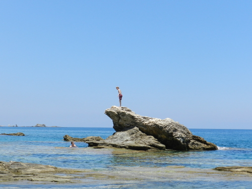 Rock jumping. Pelion, Greece.