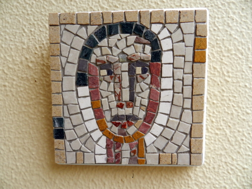 A small mosaic head
