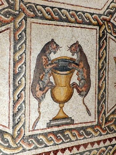 Lod mosaic, leopards and urn