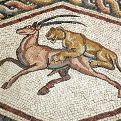 Lod mosaic, lion and antelope