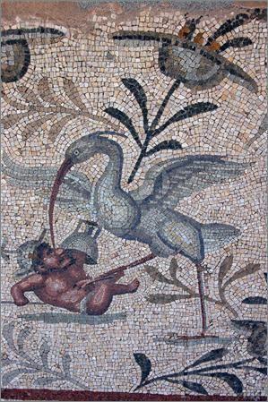 odd mosaics. bird attacking gladiator. leptis magna. libya.