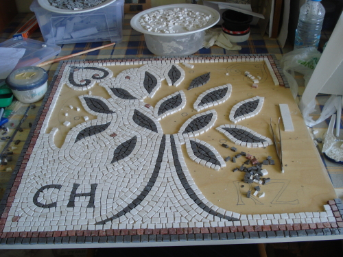 The mosaic making process: half way