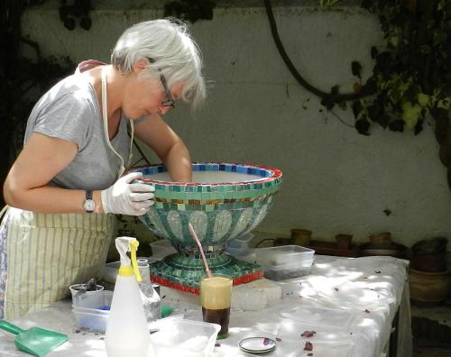 Making mosaics. Photo: Helen Miles Mosaics
