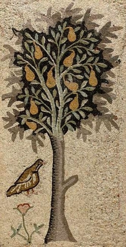 Christmas mosaic: Partridge and a pear tree. Byzantine mosaic, 5th century