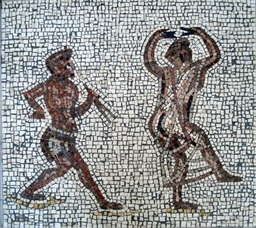 Dancers by Helen Miles Mosaics. Original in Vatican Museum.