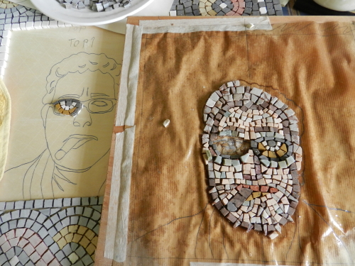 Transposing face to baseboard. Photo: Helen Miles Mosaics