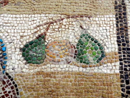 Fruit detail, mosaics of Corinth, Greece. Photo: Helen Miles Mosaics