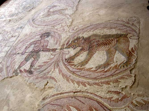 Hunting scene, The Burnt Palace, Madaba.
