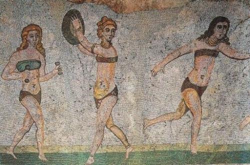 odd mosaics. piazza armerina, sicily. via yukiyo hikasa