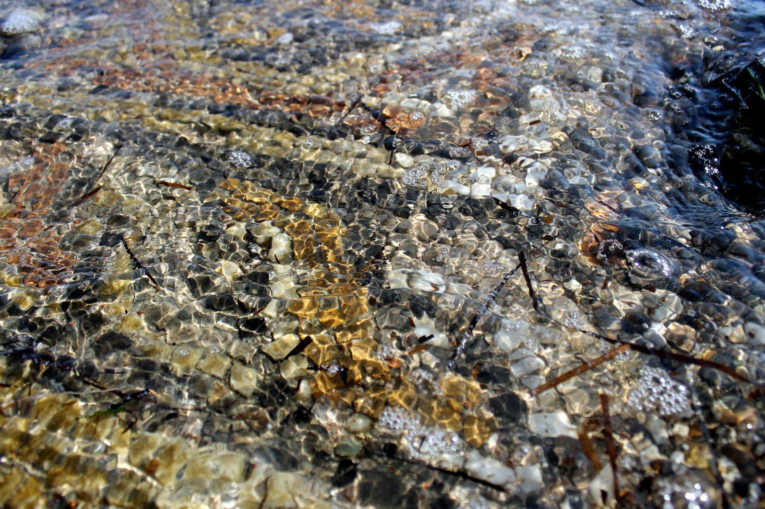 Ancient mosaic fragments in the sea, Atalanti, Greece.