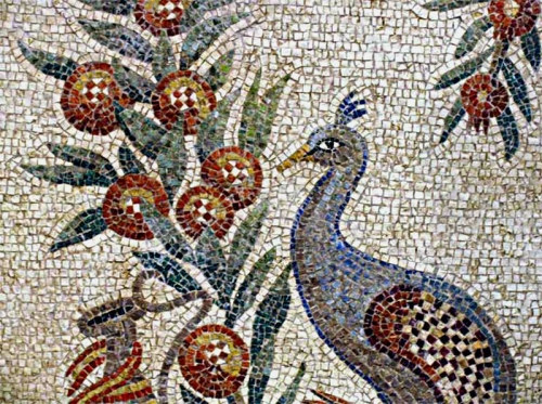Peacock mosaic, mausoleo di Santa Costanza, Rome. From Ostia Antica