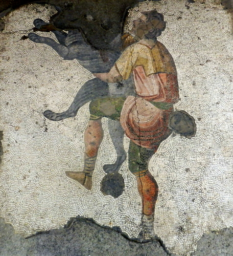 Mosaic of man hugging dog