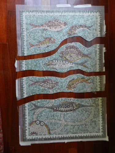larger mosaics on mesh, Helen Miles Mosaics
