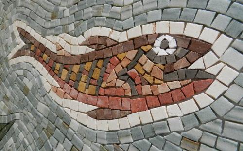 larger mosaics on mesh, fish mosaic, Helen Miles Mosaics