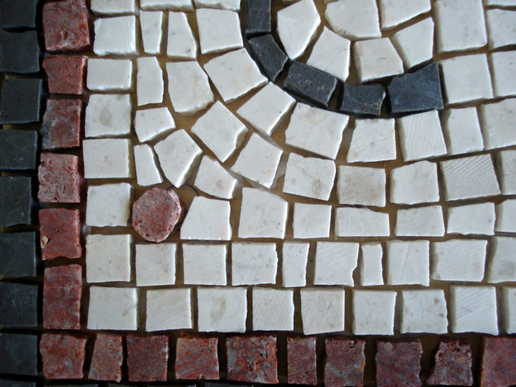 Wedding mosaic for CH & RZ_detail before grouting