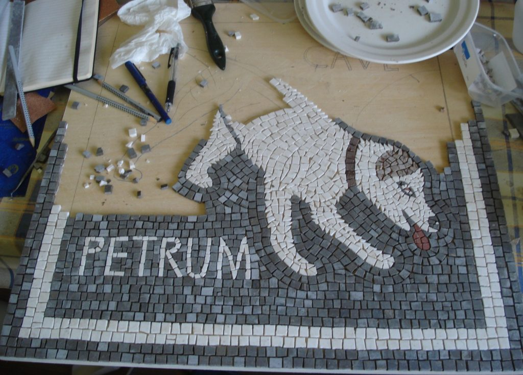 scary dog mosaic_work in progress, half way