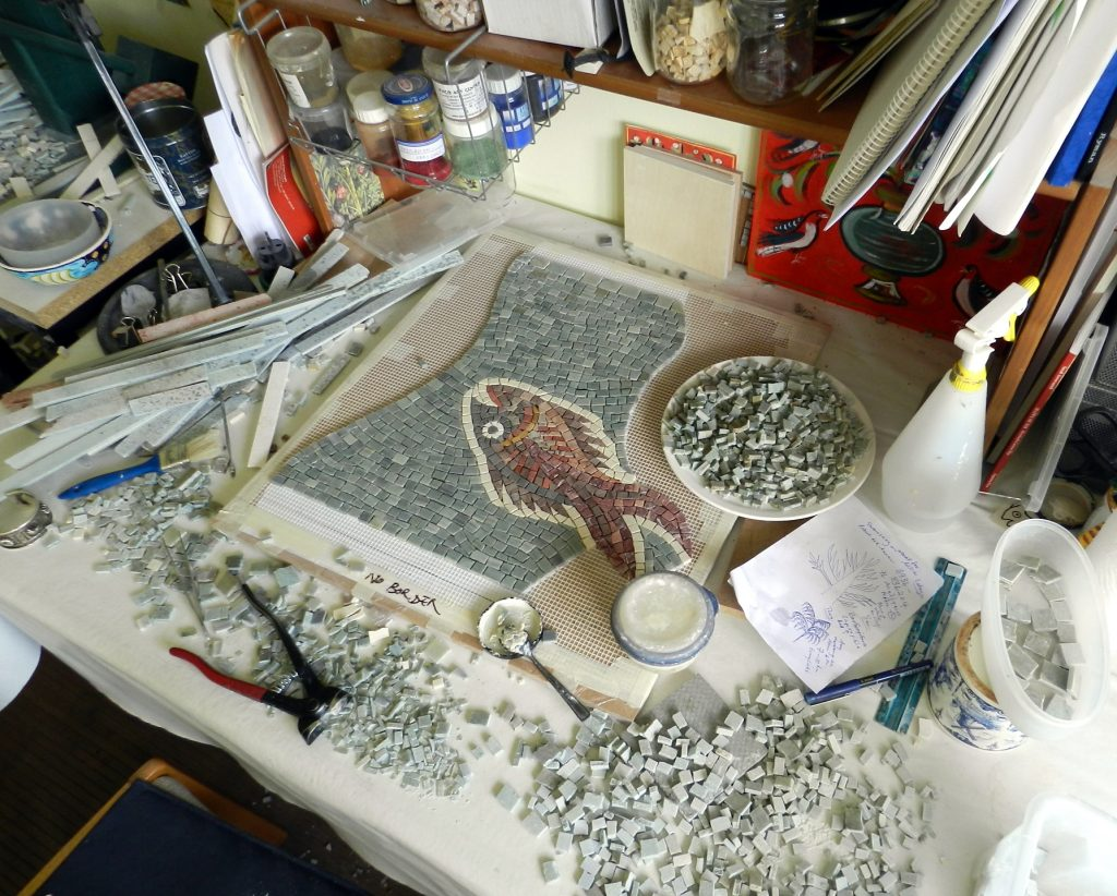 Washington panel mosaic_fish in the studio.