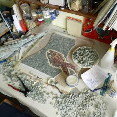 Washington panel mosaic_fish in the studio.