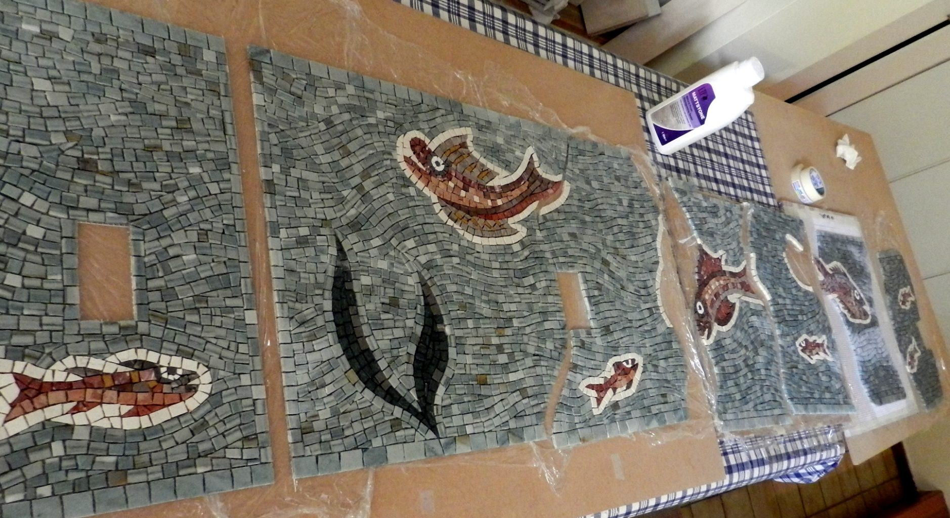 mosaic fish panel in segments