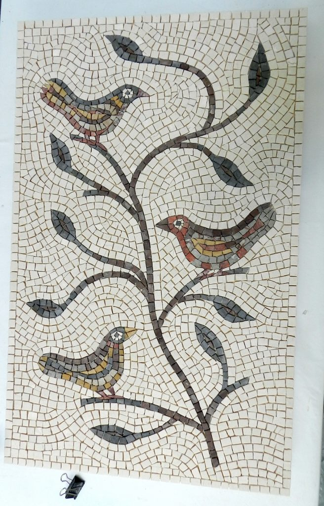 Birds and branches mosaic _ before grouting.