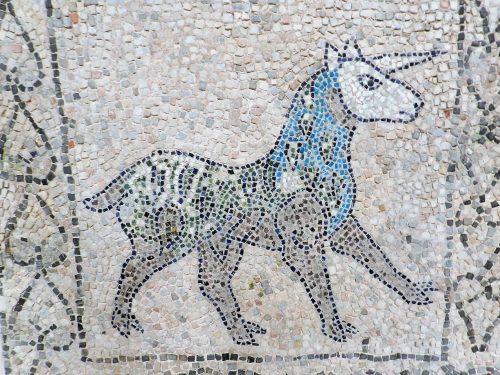 Unicorn, mosaics of San Giovanni Evangelista, Ravenna