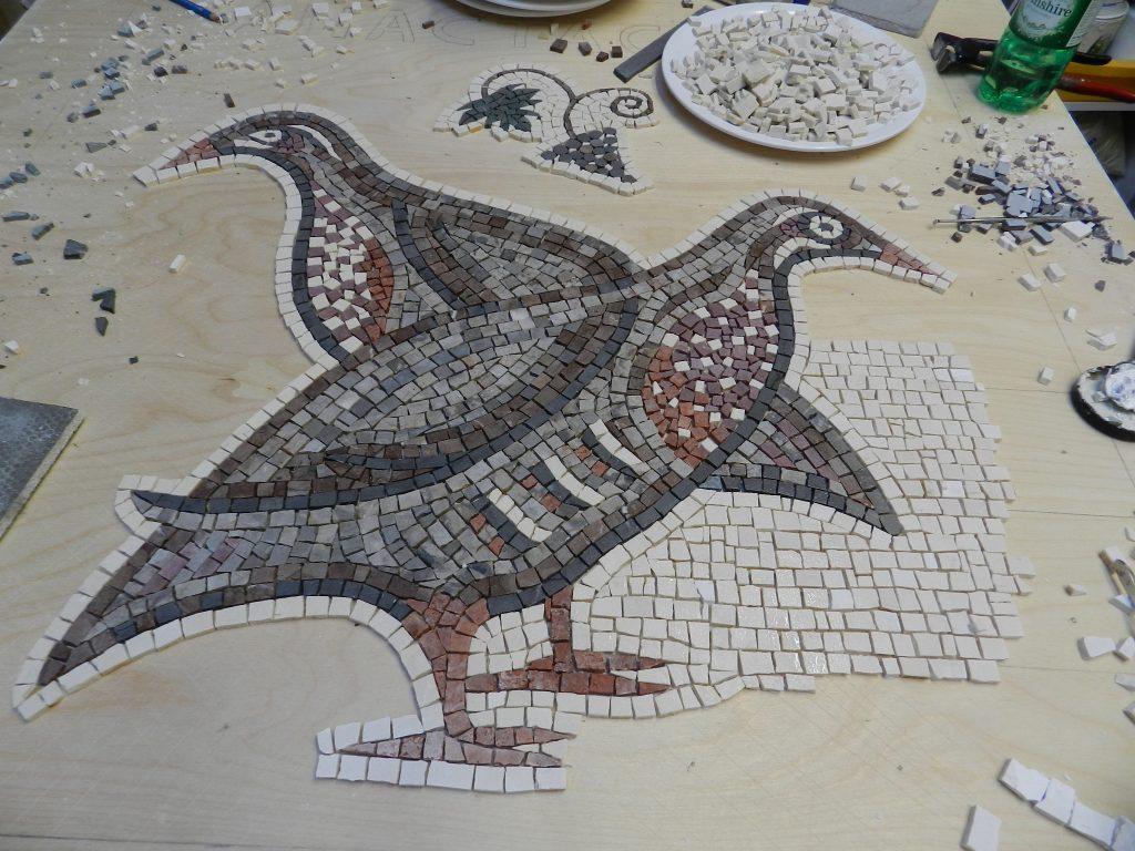 mosaic partridges_work in progress.