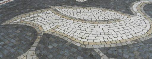 Three mosaic birds