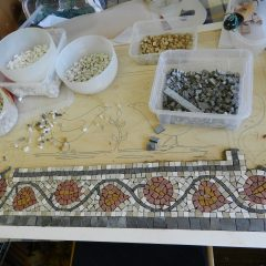 Love birds mosaic _ making progress on the border