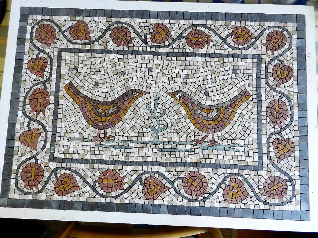 Love birds mosaic _ before grouting