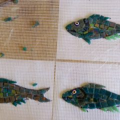 mosaic fish on mesh
