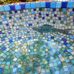 vitreous glass mosaic garden urn with fish interior view
