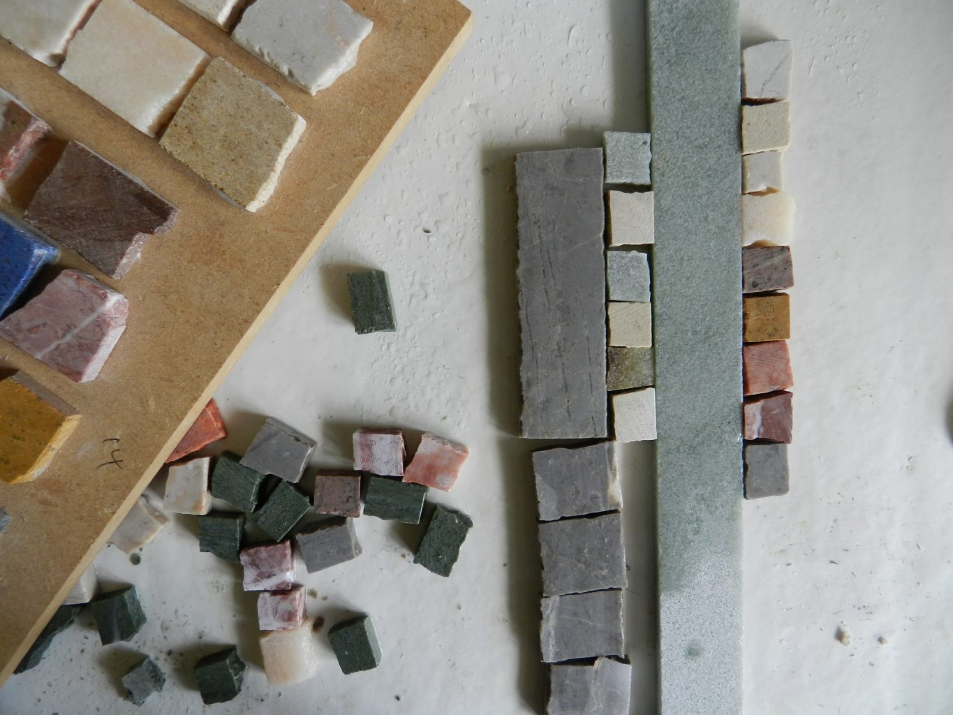 stone colour choice for the octopus and fish mosaic