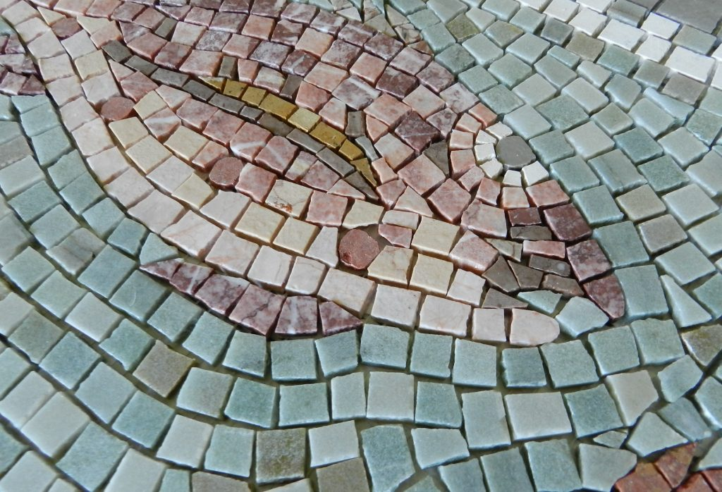 fish head mosaic detail
