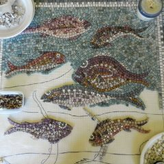 Octopus and fish mosaic _ work in progress