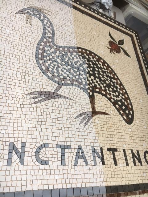 guinea fowl mosaic_applying sealant
