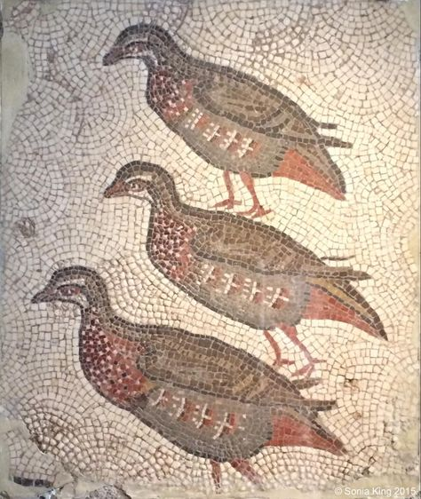 three mosaic partridges