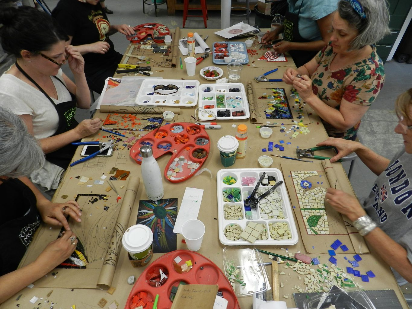 Chicago Mosaic School - mosaic students hard at work