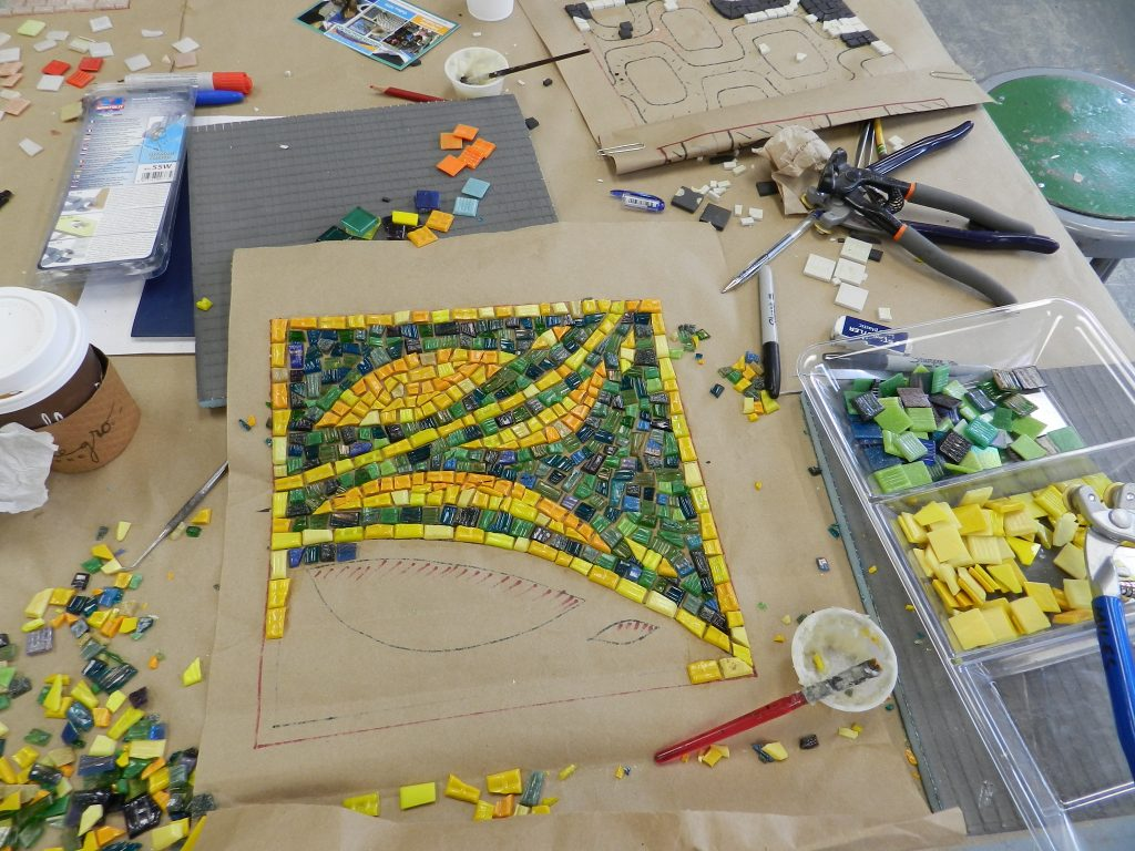 Chicago Mosaic School - Helen Miles' work in progress