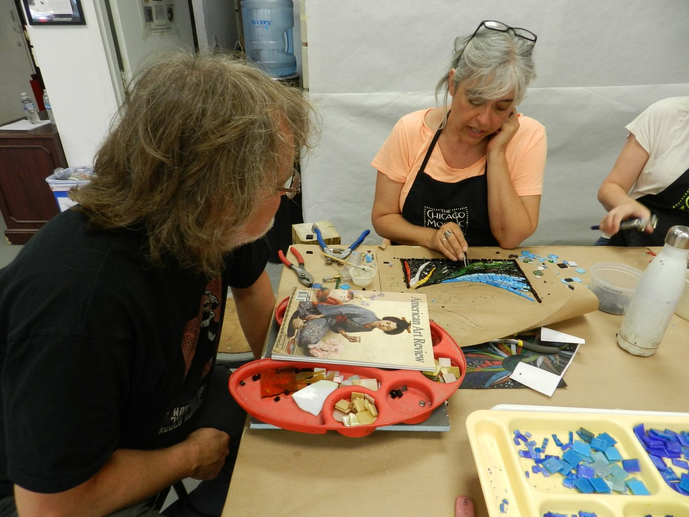 Chicago Mosaic School: Gary Drostle and student discuss mosaic technicalities.