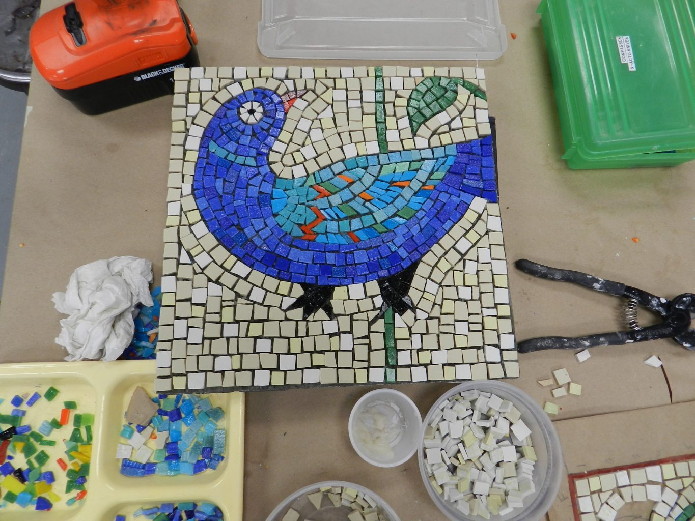 Chicago Mosaic School - Lisa Domenici's bird before grouting.