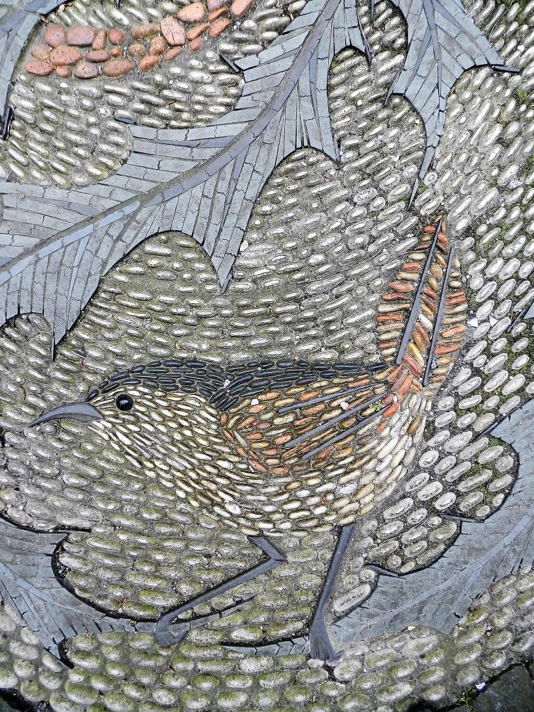 Maggie Howarth, detail of Scottish flora and fauna pebble mosaic. Mosaics of Scotland.
