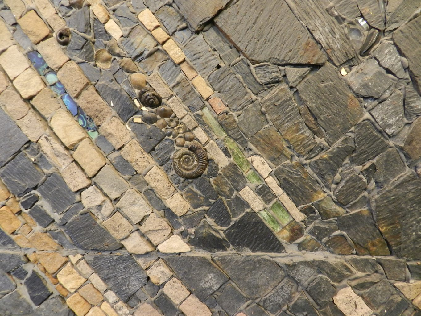 George Garson mosaic detail with fossils, University of Glasgow, Mosaics of Scotland