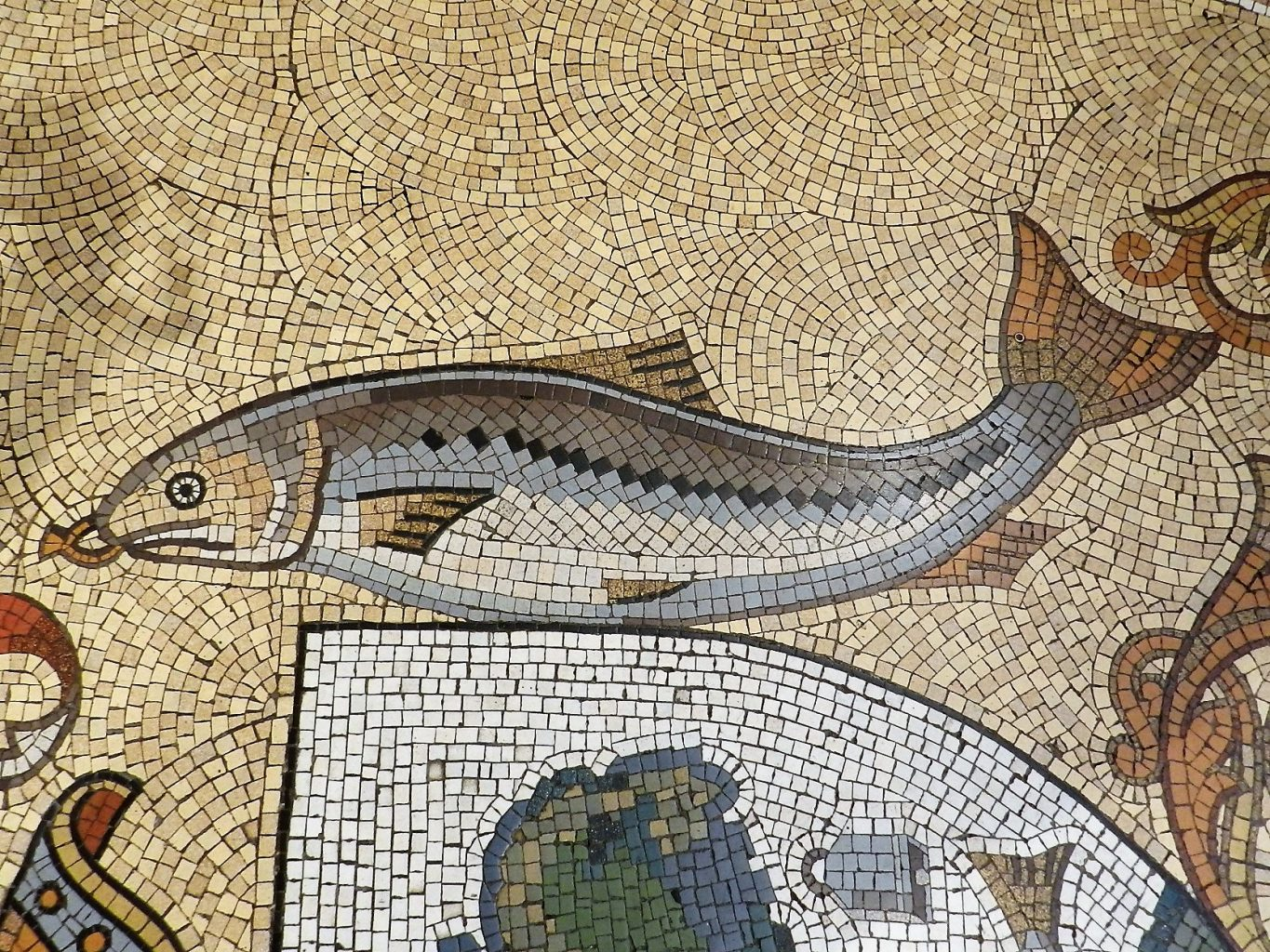 Glasgow City Chambers mosaic, fish detail. Mosaics of Scotland