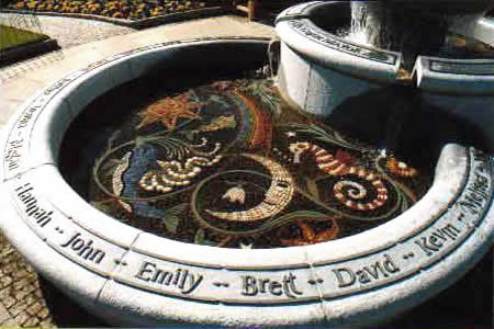 Maggie Howarth Fountain, Dunblane. Mosaics of Scotland.