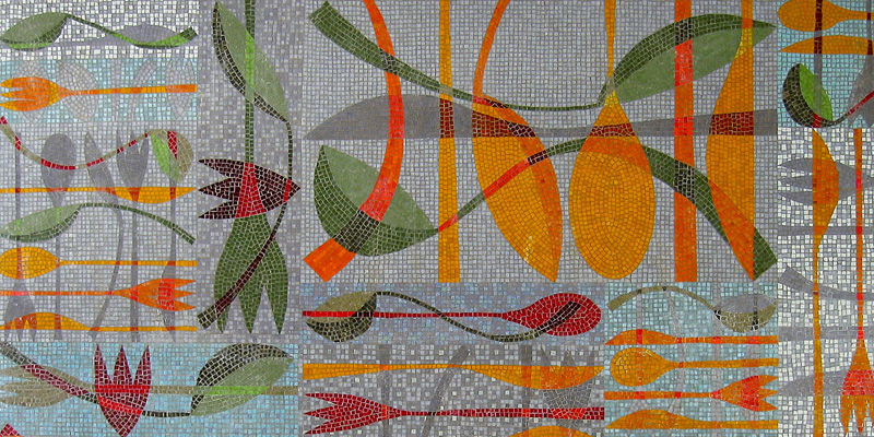 Kitchen mosaic panel by Emma Biggs