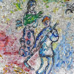 Mosaics in Chicago: Marc Chagall's Four Seasons mosaic_ harvest detail.