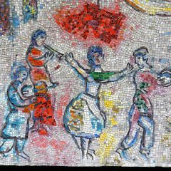 Mosaics in Chicago: Marc Chagall's Four Seasons mosaic_ dancer and musicians