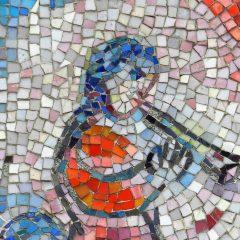Mosaics in Chicago: Marc Chagall's Four Seasons mosaic_ musician detail