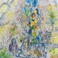 Marc Chagall's Four Seasons mosaic_ pastoral scene.
